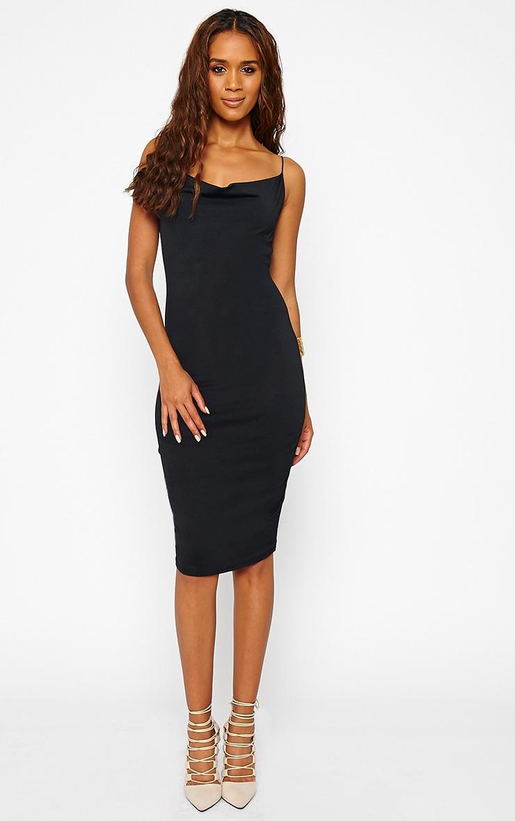 Saki Black Cowl Neck Dress 3