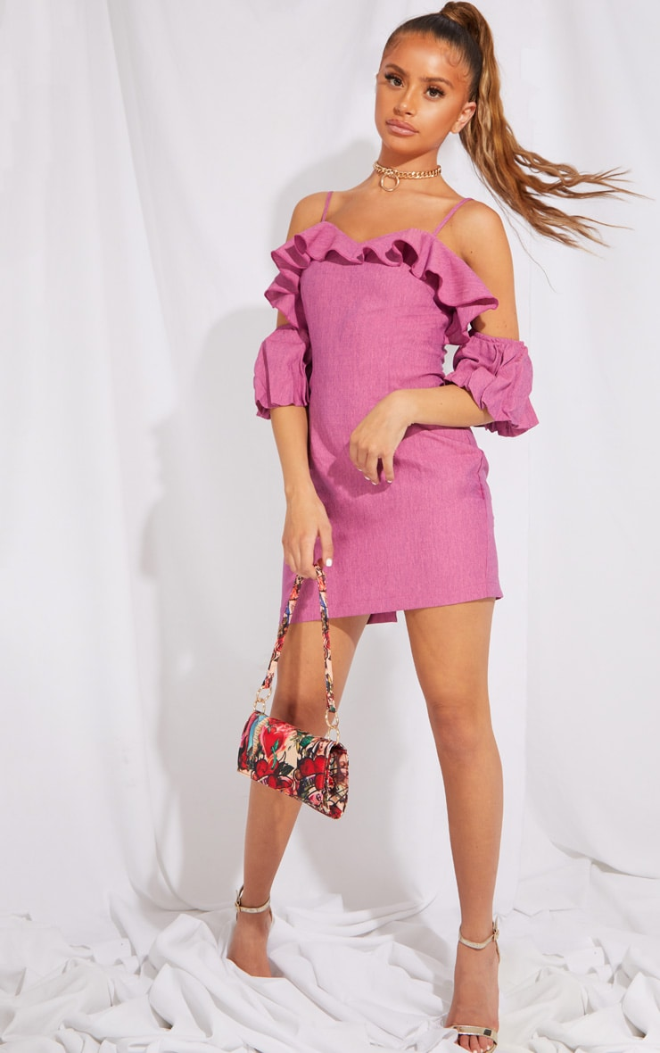 Petite Pink Frill Detail Ruffle Light Weight Mini Dress 1
