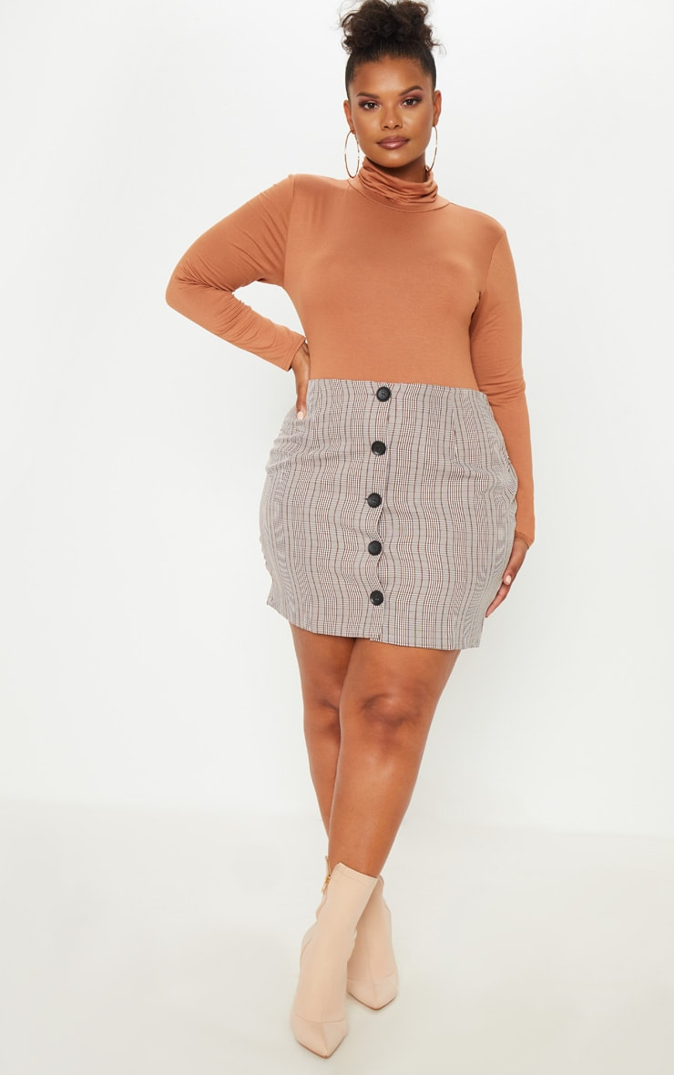 Plus Brown Check Button Up Mini Skirt  5