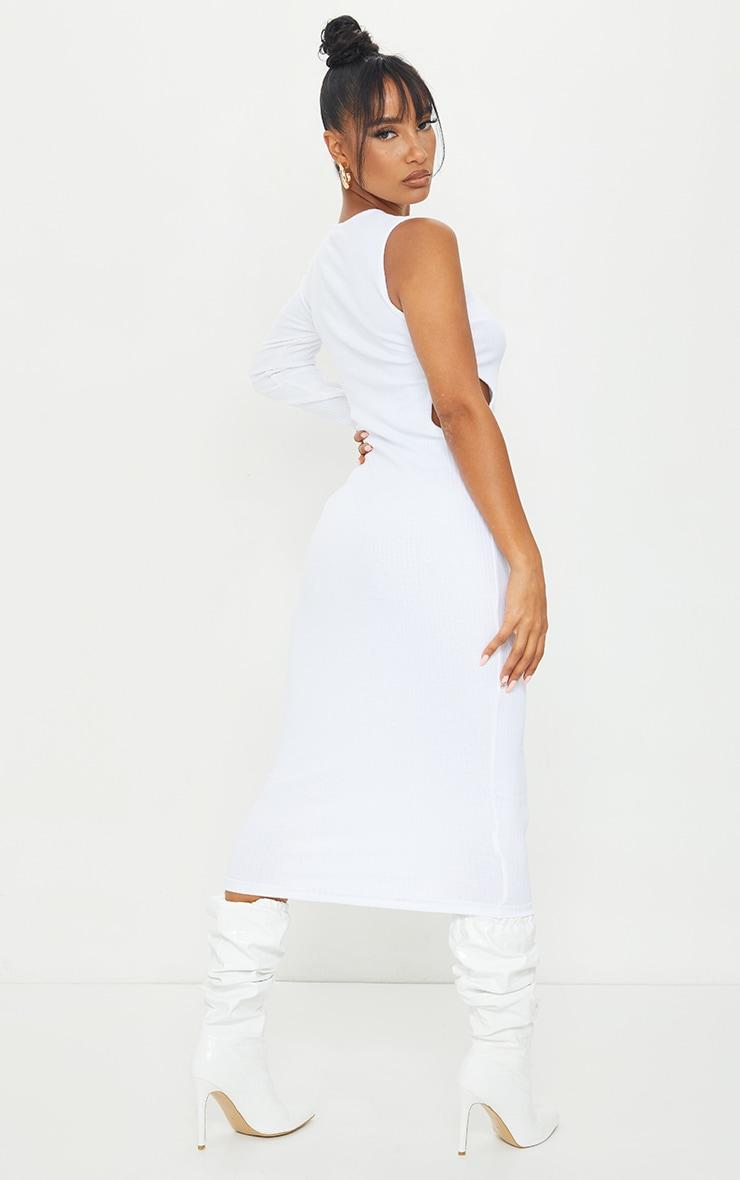 White Rib Cut Out Midi Dress 2