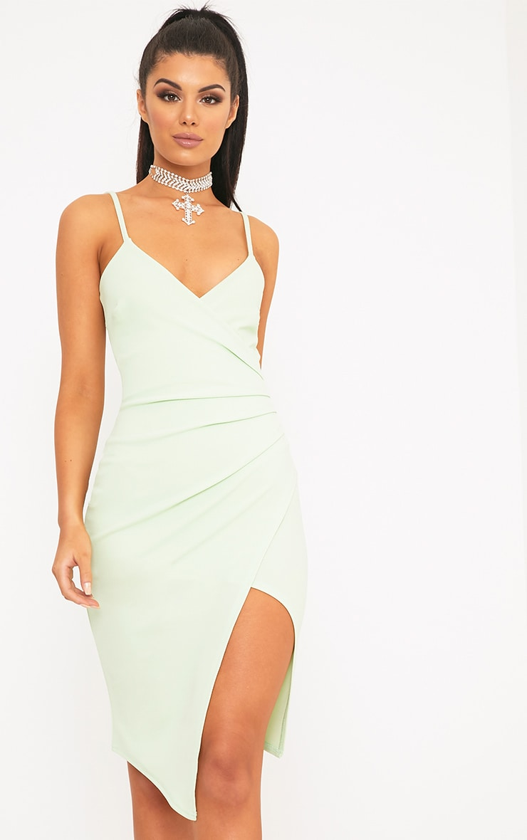 Lauriell Mint Wrap Front Crepe Midi Dress 3