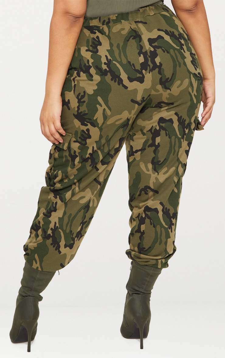 Plus Khaki Camo Pocket Detail Joggers 4