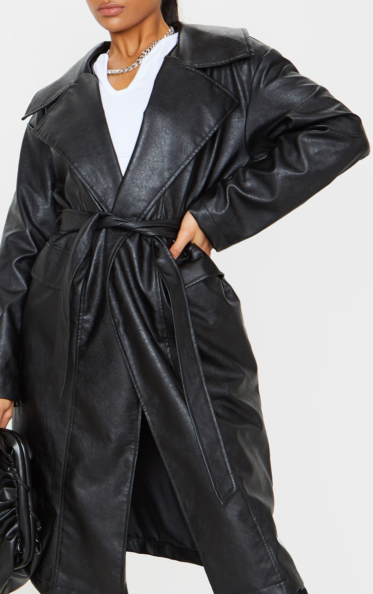 Black Faux Leather Oversized Midi Trench Coat 4