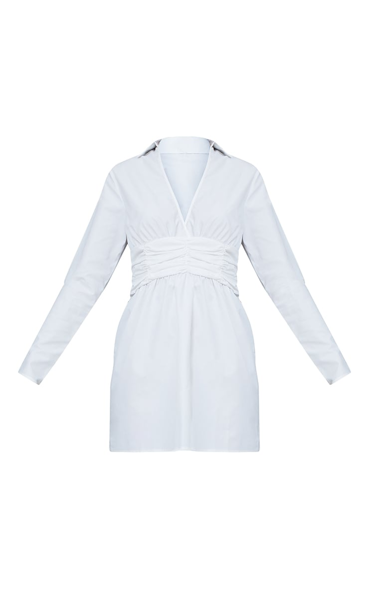 Robe chemise manches longues blanche à taille froncée  5
