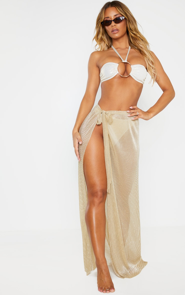 Gold Metallic Plisse Beach Sarong 1