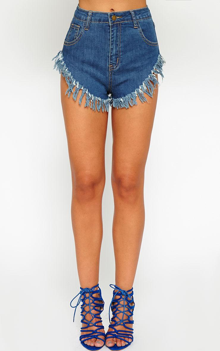 Opal Frayed Blue Wash Denim Hotpants 2