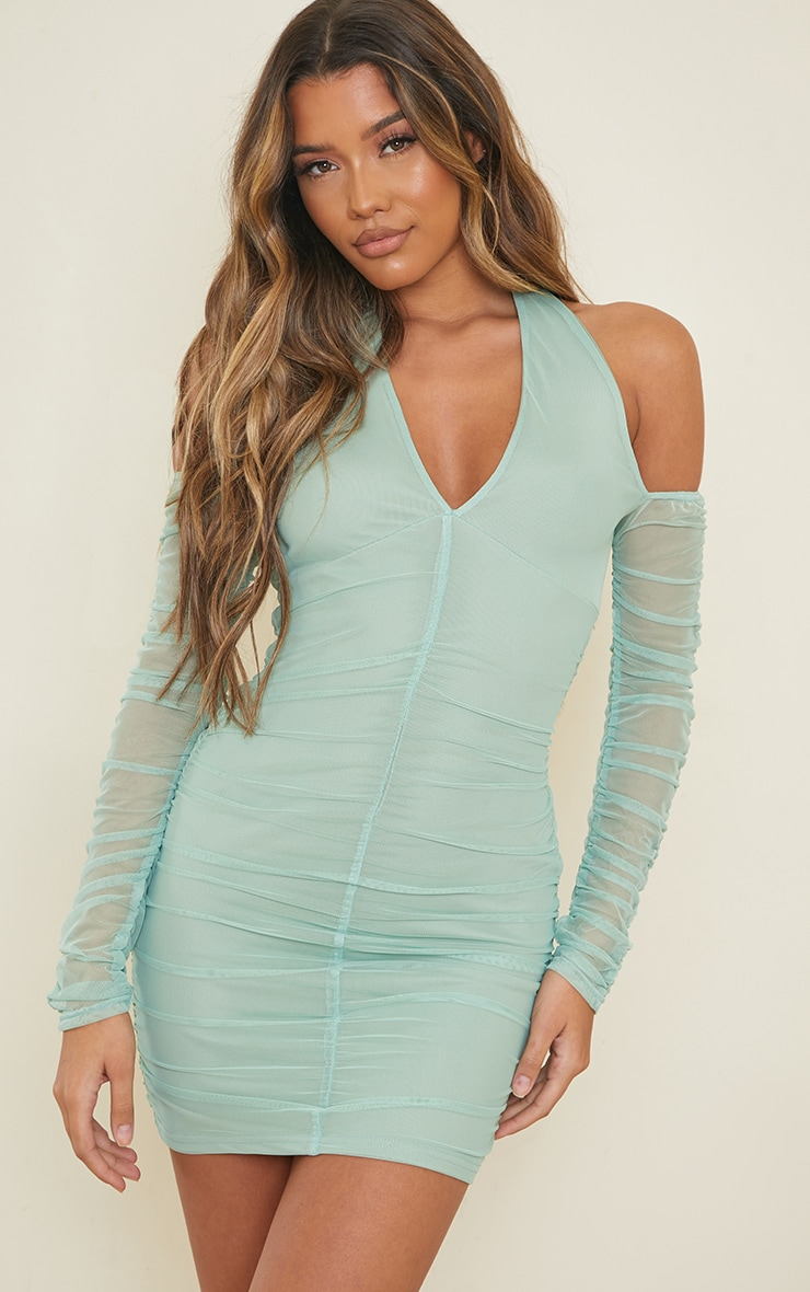 Washed Green Halterneck Long Sleeve Mesh Ruched Bodycon Dress 1