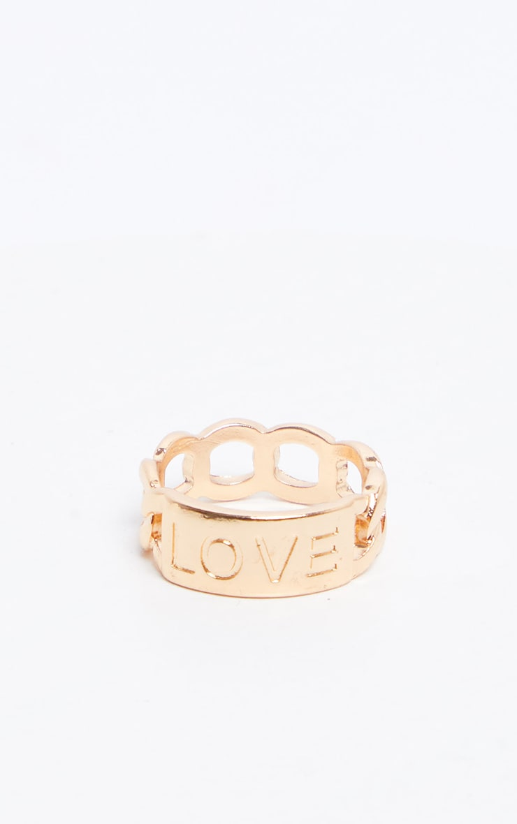 Gold Chain love Ring  2