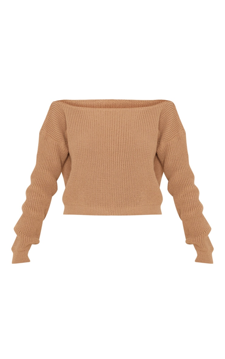 Taupe Off The Shoulder Knitted Crop Jumper 3