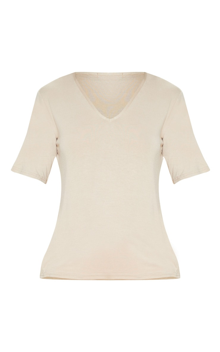 Basic Nude V Neck T Shirt 3