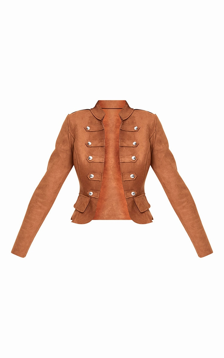 Tan Faux Suede Military Jacket 4
