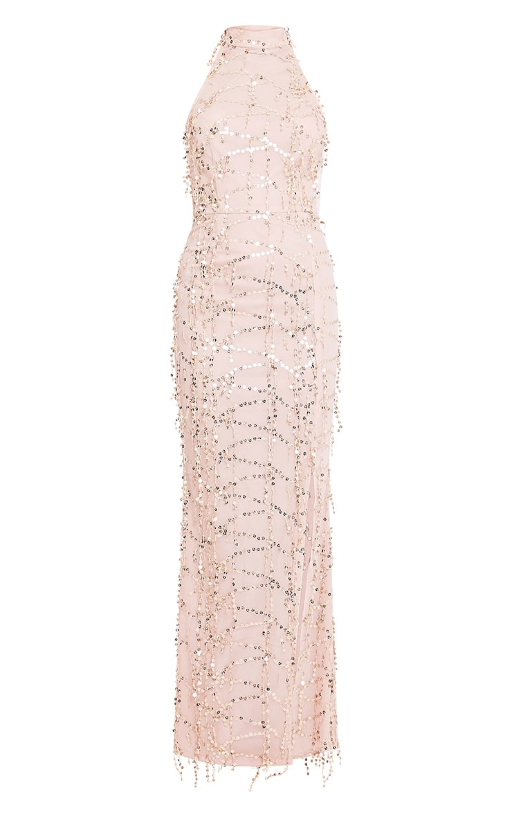 Maya Nude Sequin Fishtail Maxi Dress 3