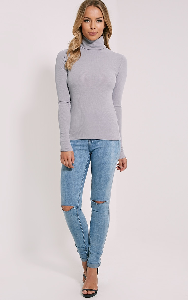 Basic Grey Polo Neck Top 3