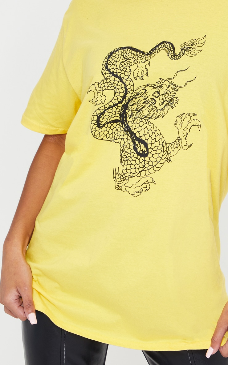 Yellow Contrast Dragon Print T Shirt 4