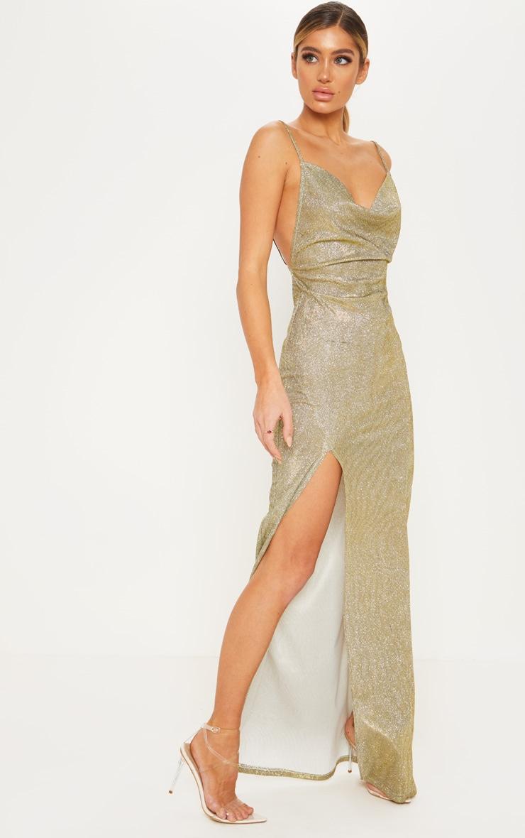 Gold Metallic Cowl Split Leg Maxi Dress 4