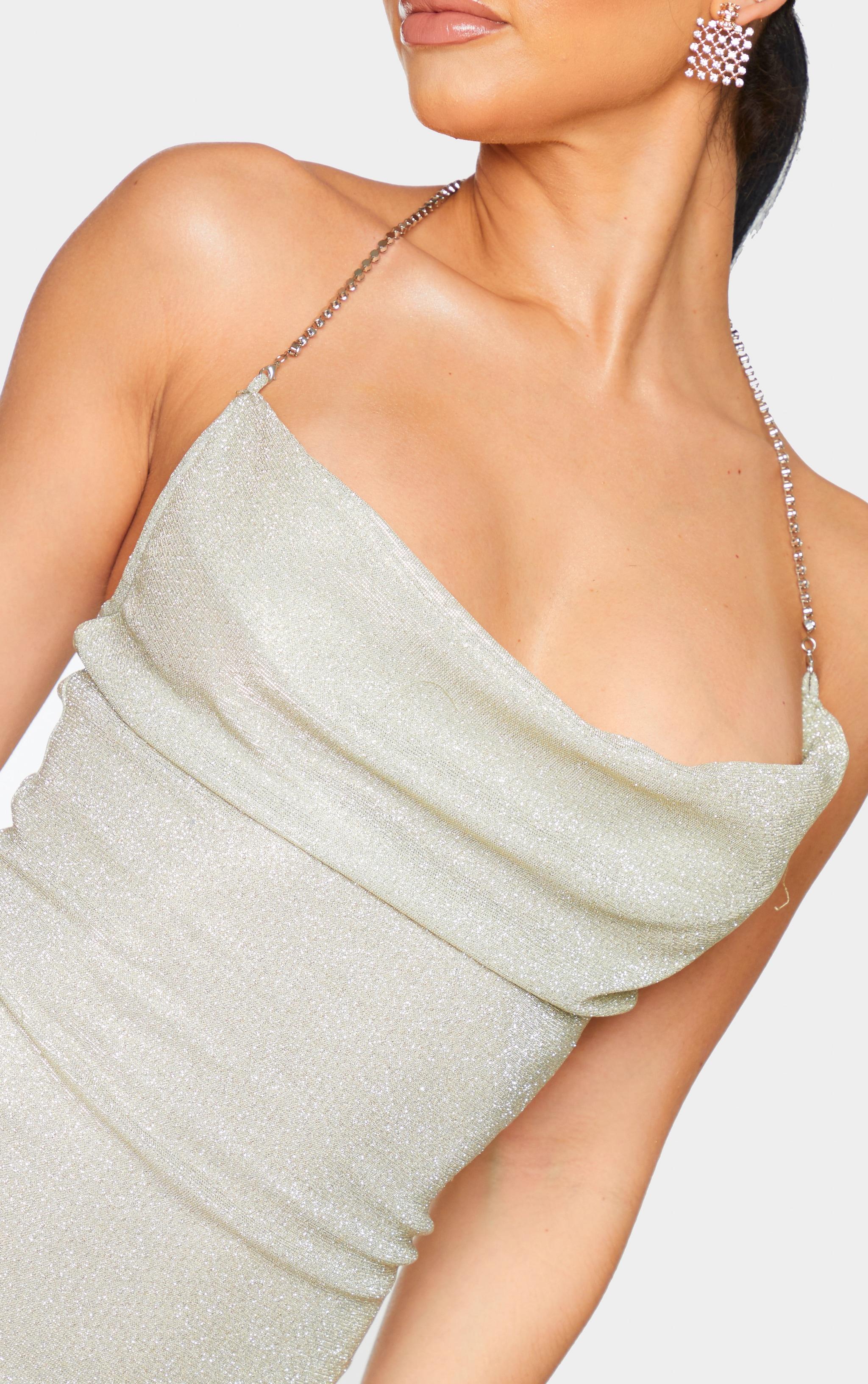Shape Gold Cowl Diamante Detail Halterneck Bodycon Dress 4