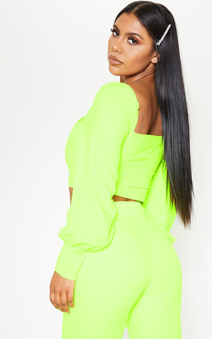 Neon Lime Button Front Puff Sleeve Top 2