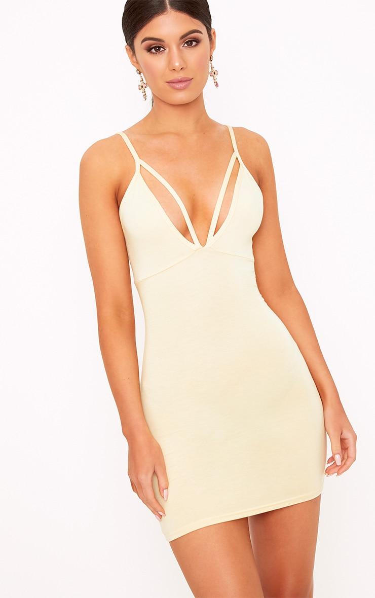 Riana Lemon Strap Detail Bodycon Dress 1