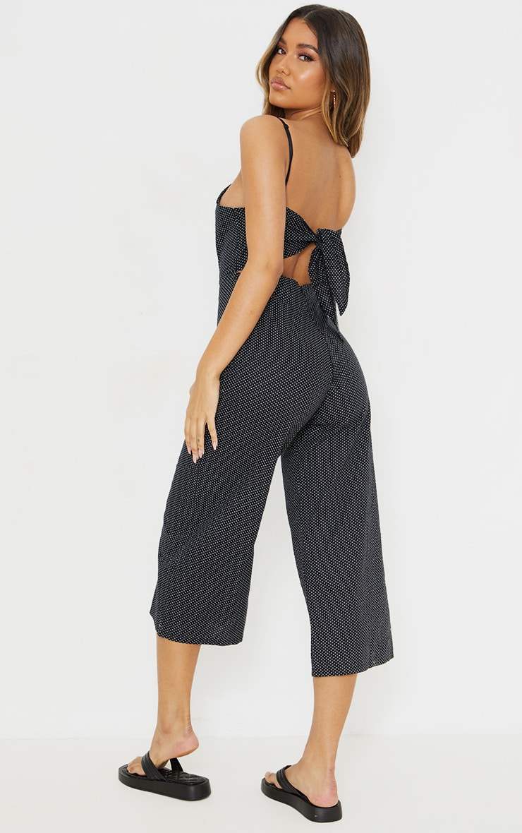 Black Polka Dot Tie Back Culotte Jumpsuit 1