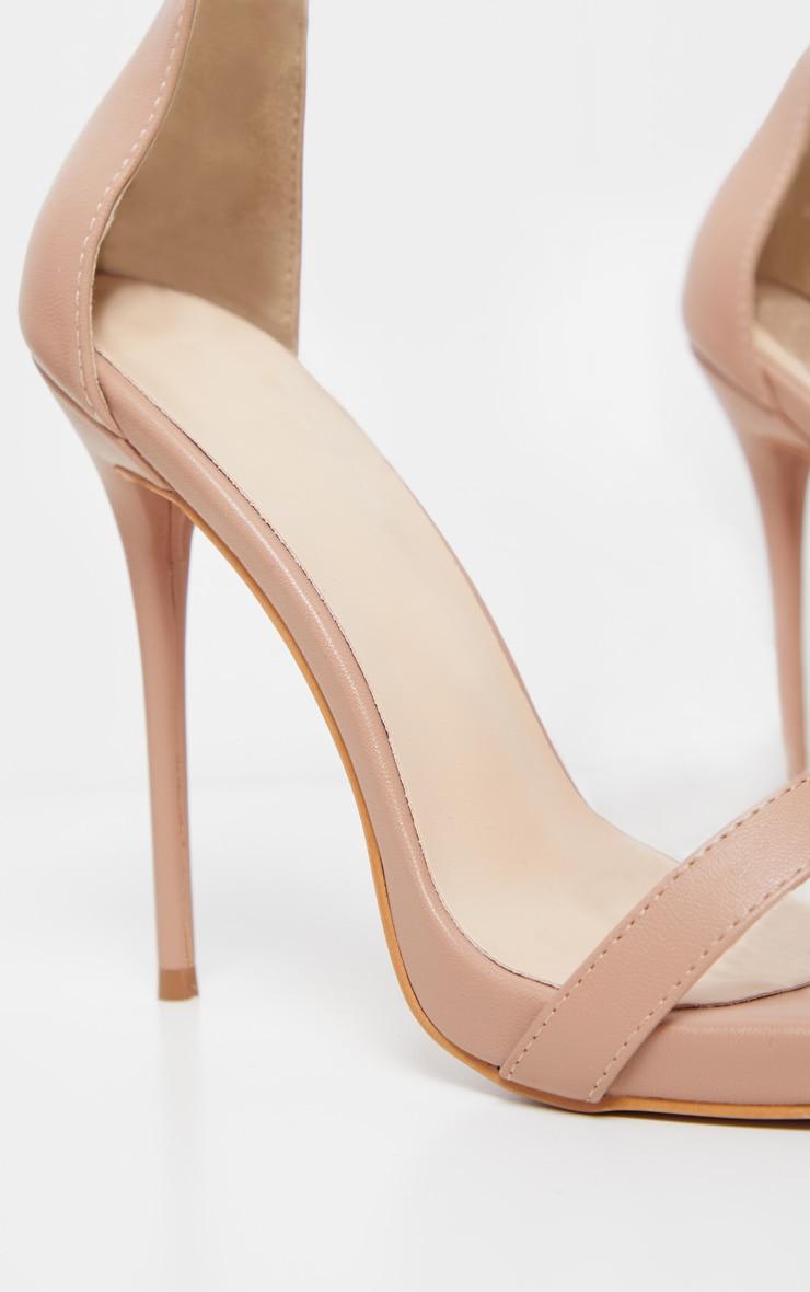 Nude Clear Cuff Square Toe High Sandal 5