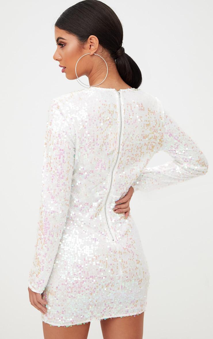 White Plunge Sequin Bodycon Dress 2