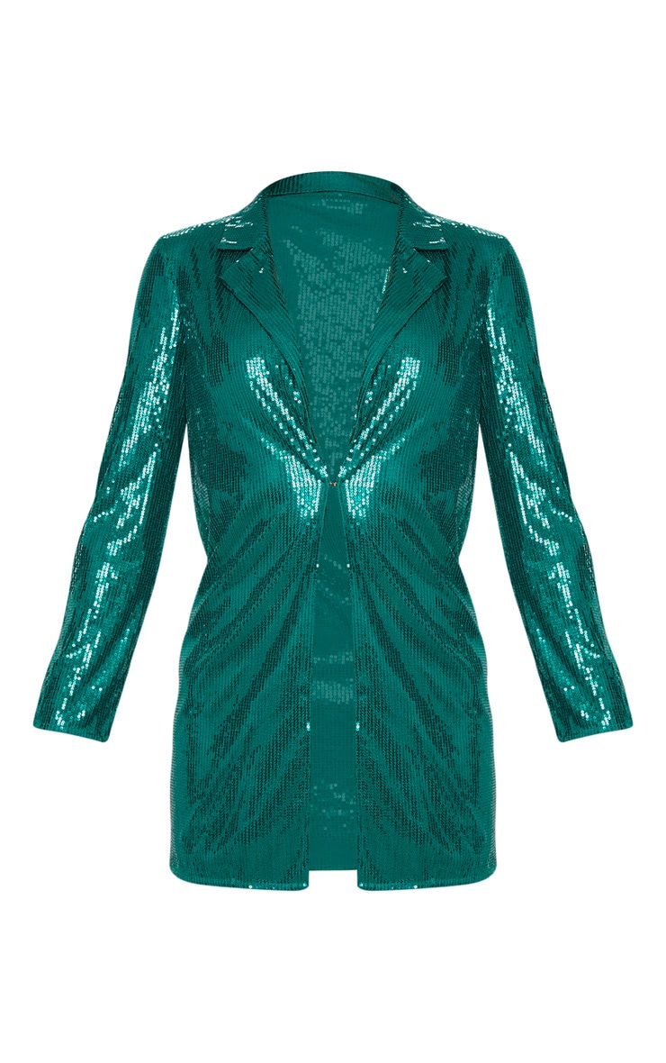 Tall Emerald Green Sequin Longline Blazer 3