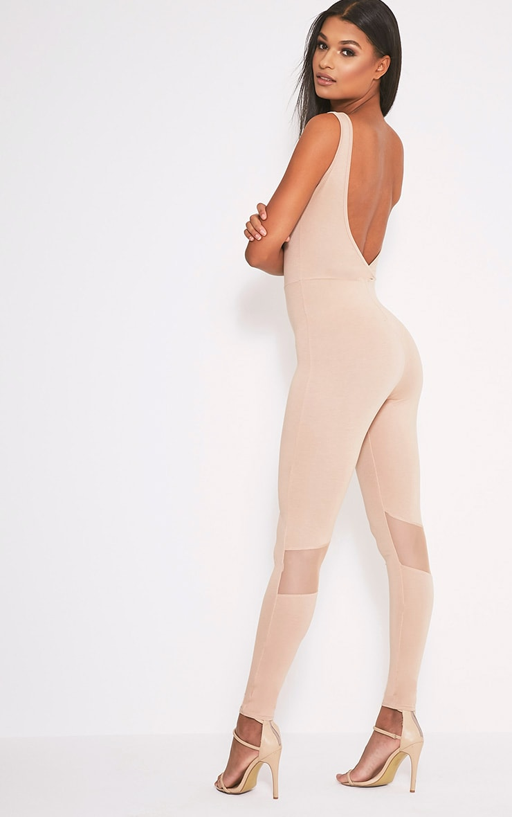 Makayla Nude Mesh Insert Fitted Jumpsuit 1