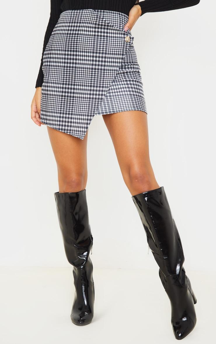 Monochrome Check Wrap Mini Skirt 2