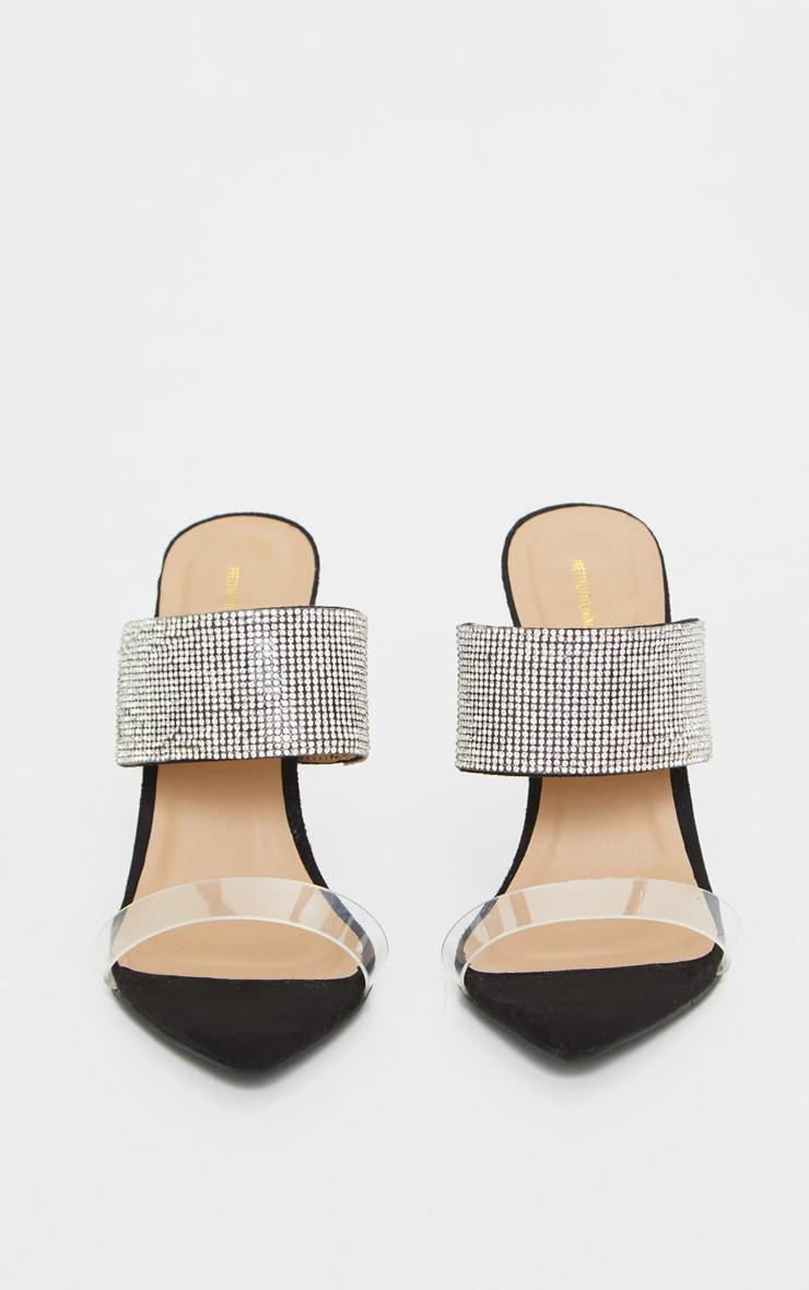 Black Diamante Strap Pointed Toe Wedge Heels 4