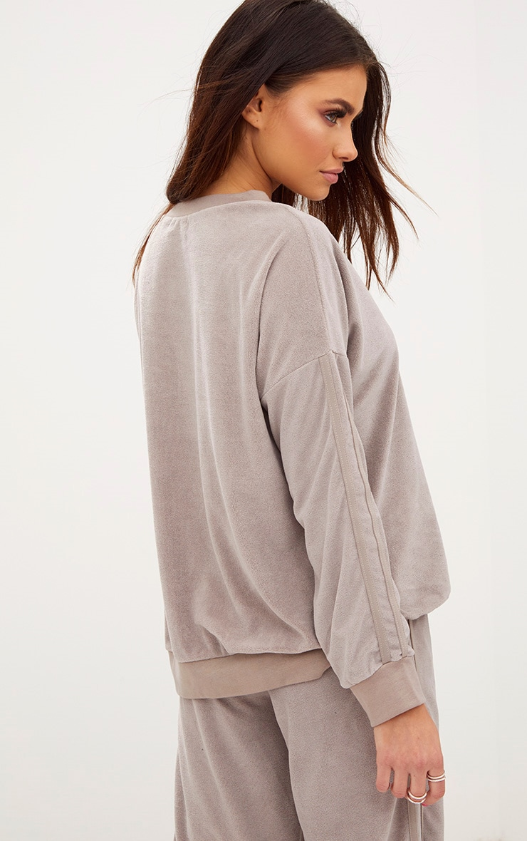 Taupe Velour Side Stripe Sweater 2
