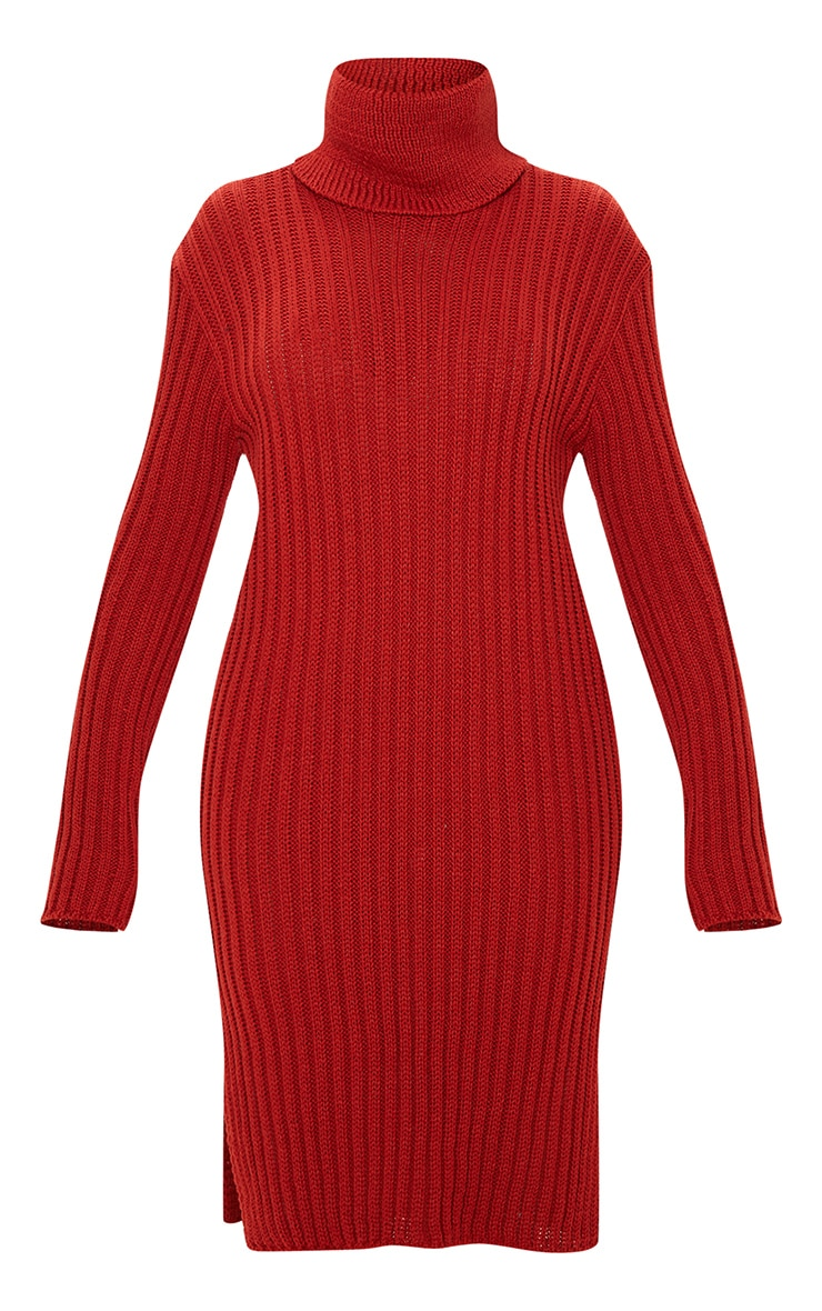 Rust Roll Neck Midi Sweater Dress 3