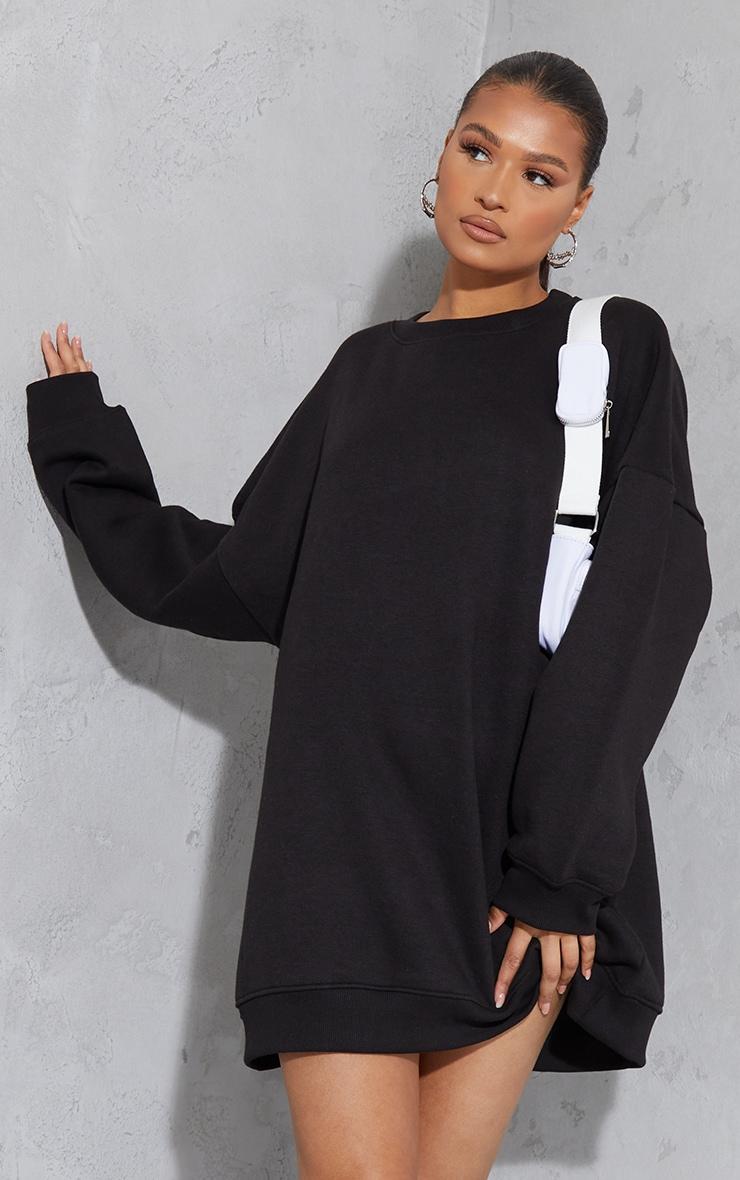 Black Drop Shoulder Oversized Sweat Jumper Dress 4