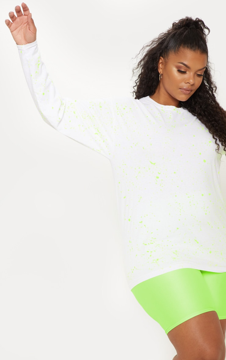 Plus White Fluro Splatter Long Sleeve T-Shirt 4