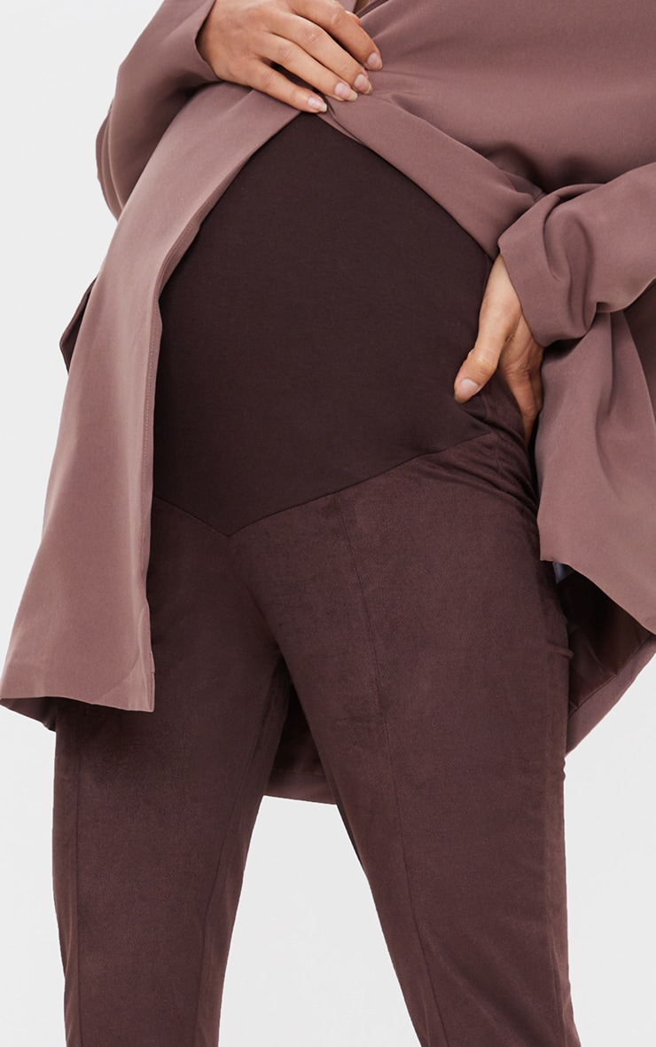 Maternity Chocolate Over Bump Faux Suede Leggings 4