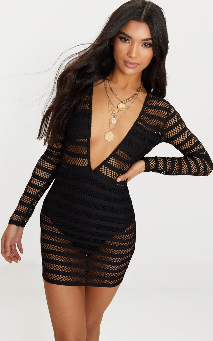 Black Stripe Mesh Panel Bodycon Dress 1