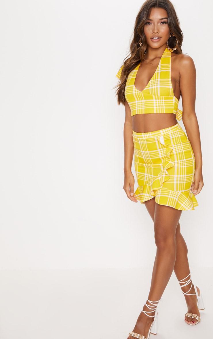 Yellow Check Print Plunge Tie Detail Crop Top 4