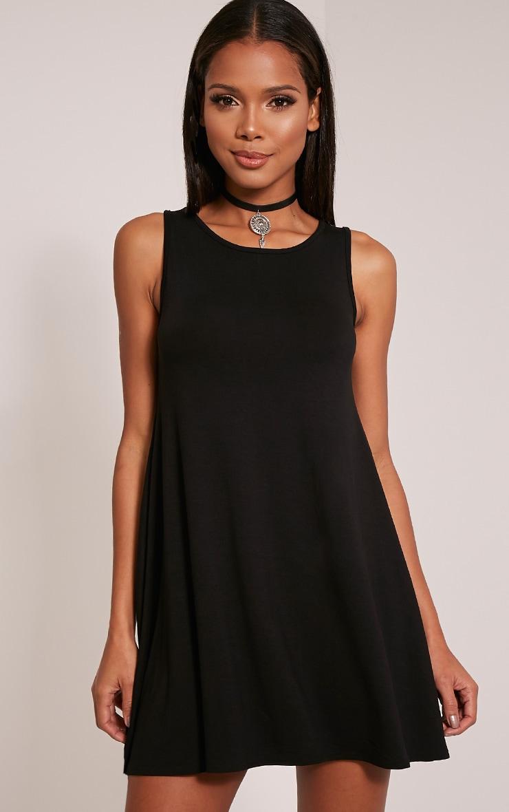 Basic robe trapèze noire sans manches 1