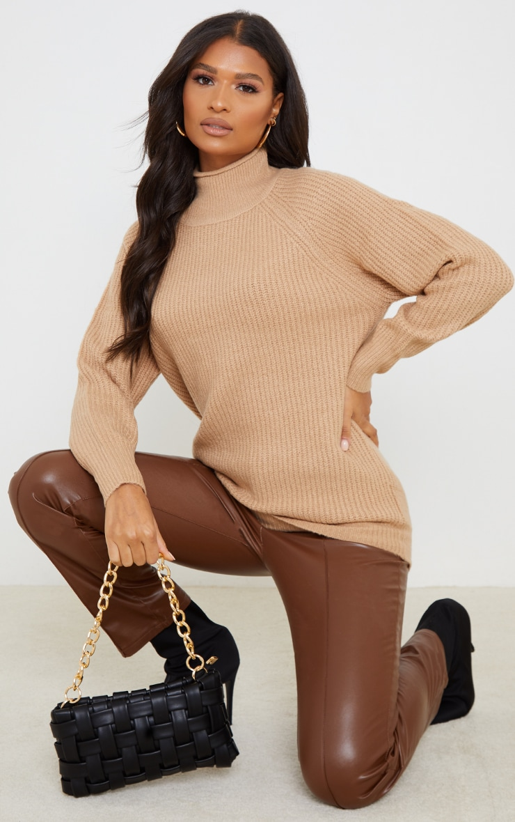 Camel Balloon Sleeve Longline Knitted Sweater 3