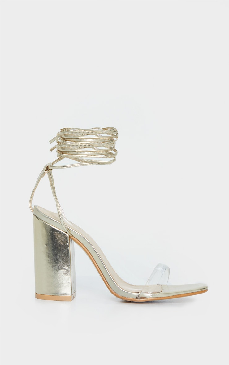 Gold Clear Strap Ankle Tie Block Heel Strappy Sandal 3