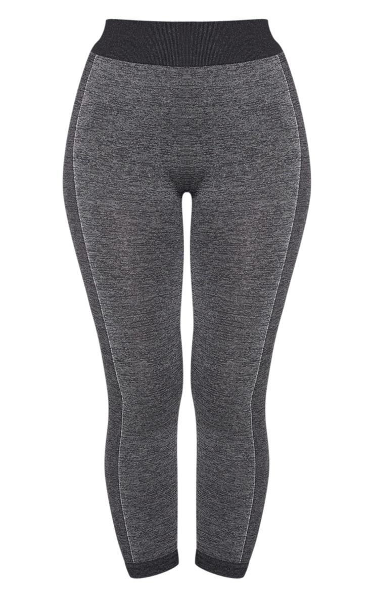Legging court gris foncé sans coutures à parties contrastantes  3