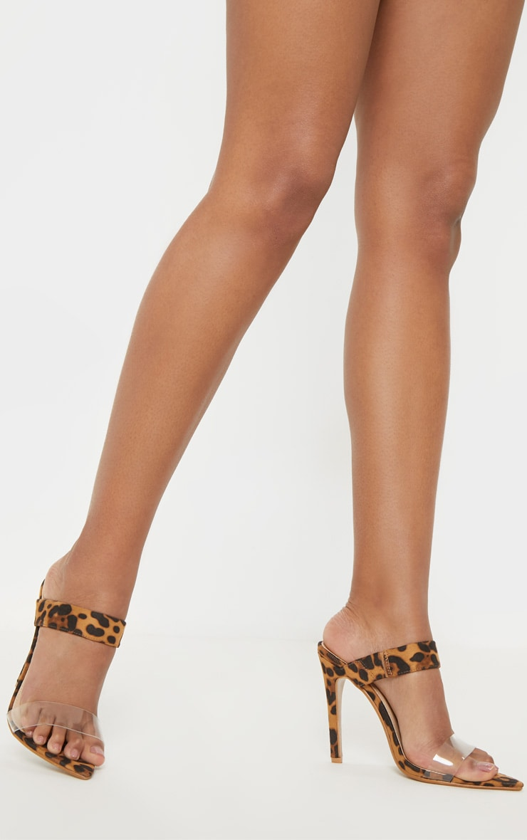 Leopard Point Toe Twin Strap Sandal 1