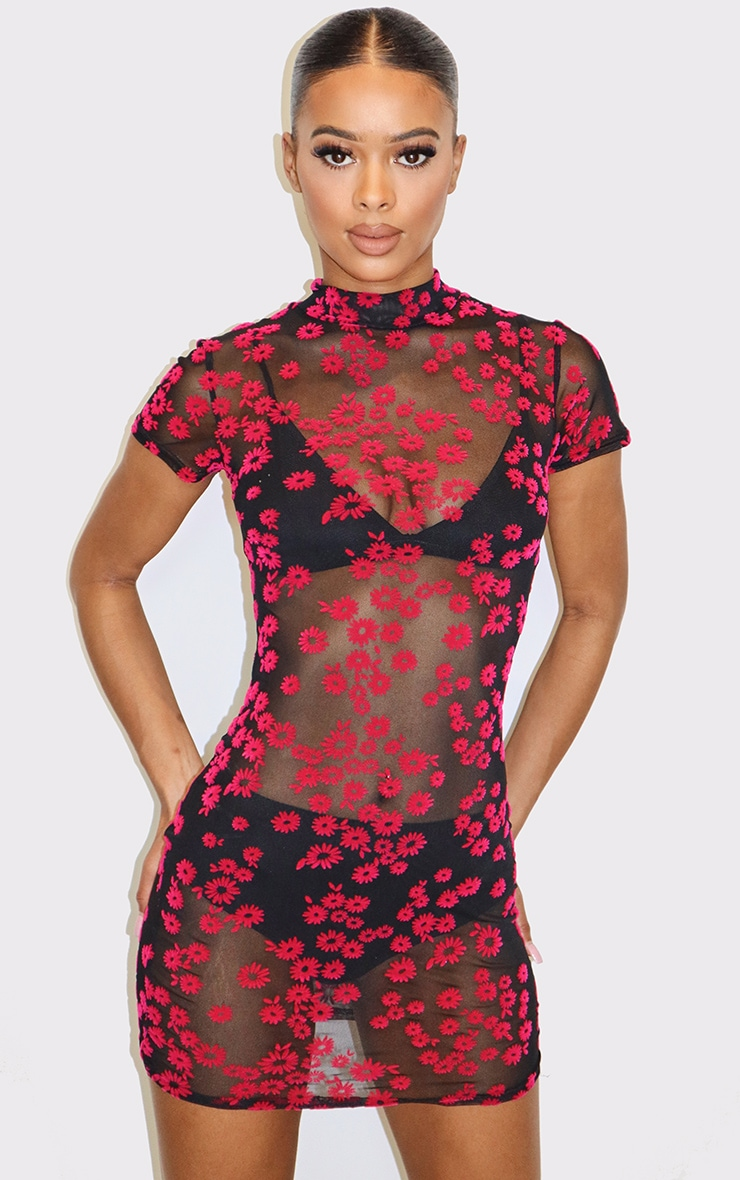 Pink Floral Print Flocked Mesh Bodycon Dress 1