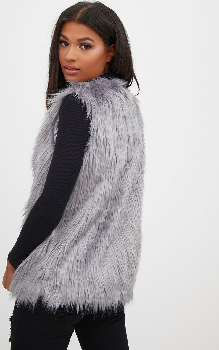 Grey Faux Fur Gilet 2