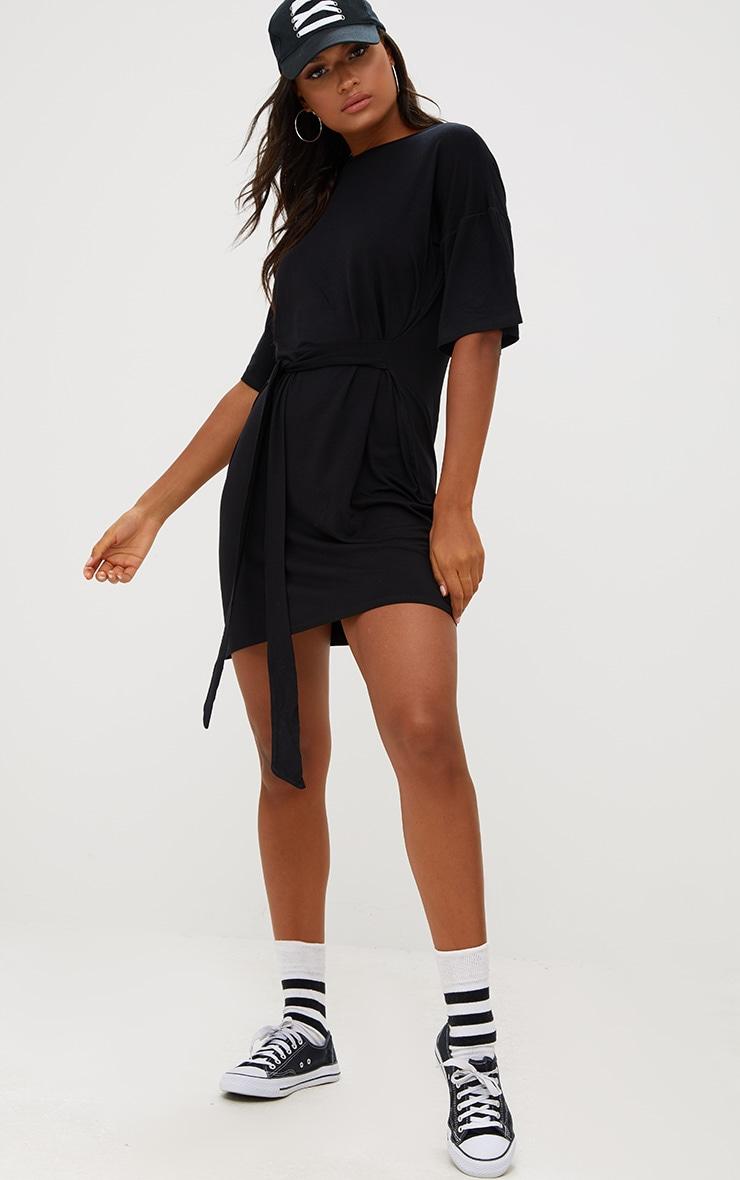 Black Tie Waist T Shirt Dress 4