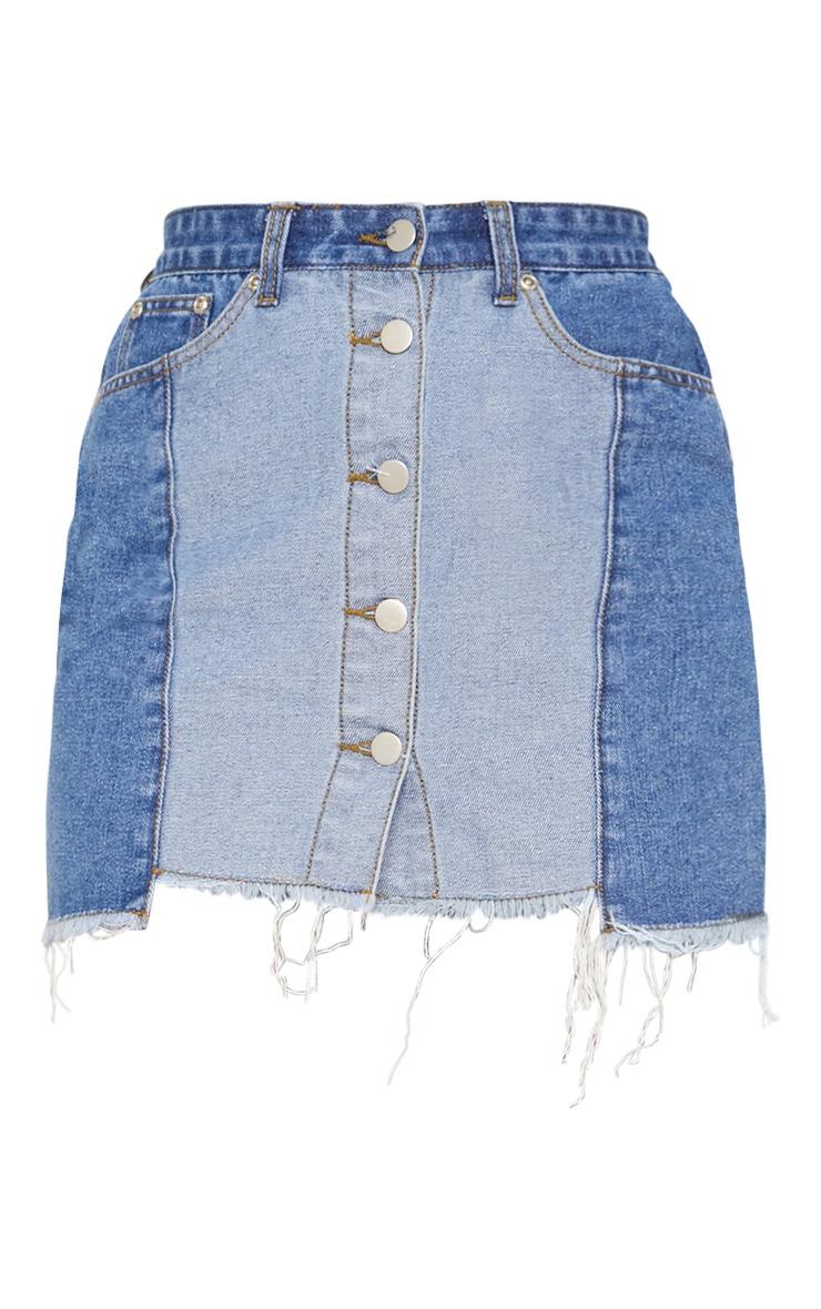Mid Wash Two Tone Button Through Denim Skirt  3