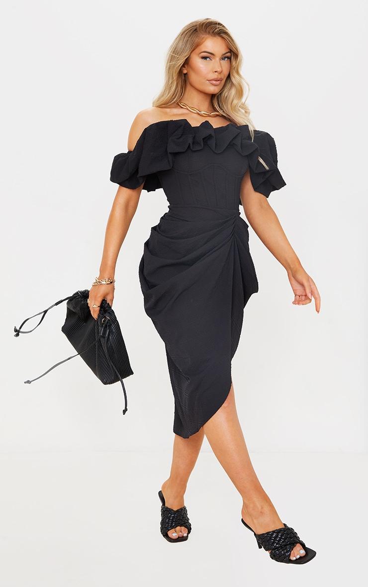 Black Textured Woven Frill Edge Draped Midi Dress 3