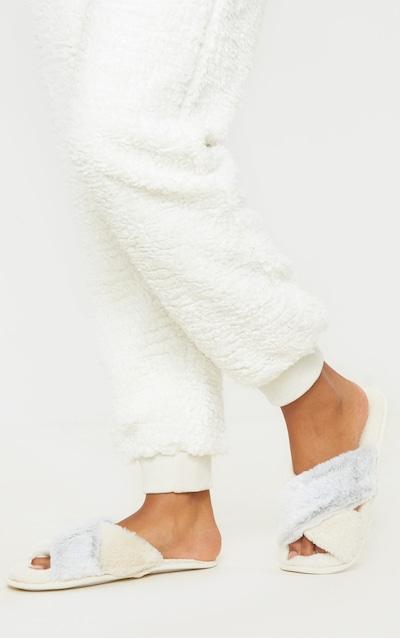Cream & Grey Plush Crossover Slippers