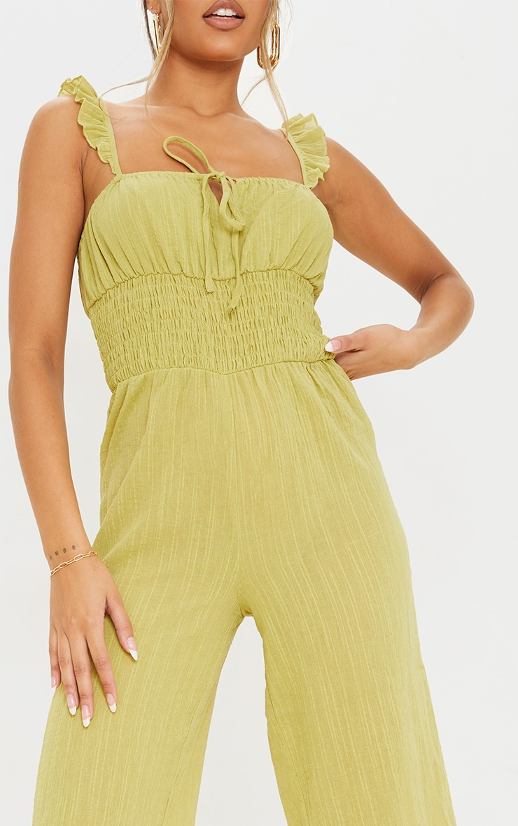 Lime Shirred Waist Frill Strap Culotte Jumpsuit 4