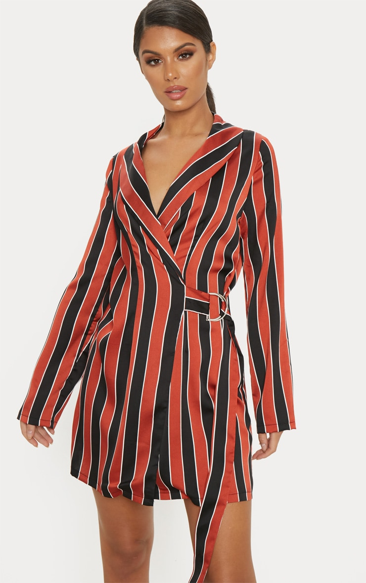 Rust Satin Stripe D Ring Blazer Dress 1