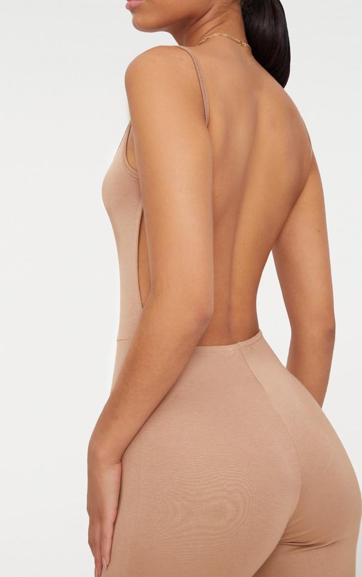 Camel Scoop Neck Backless Jumpsuit  5